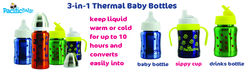 thermal baby bottles that convert to sippy cup and drinks bottle
